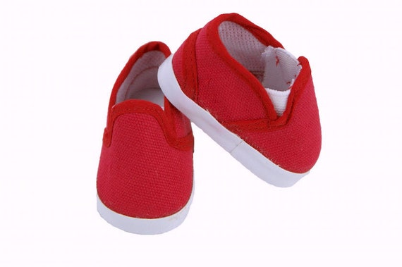 American Girl or Boy Slip on Tennis shoes 3 Colors Red, Navy and White