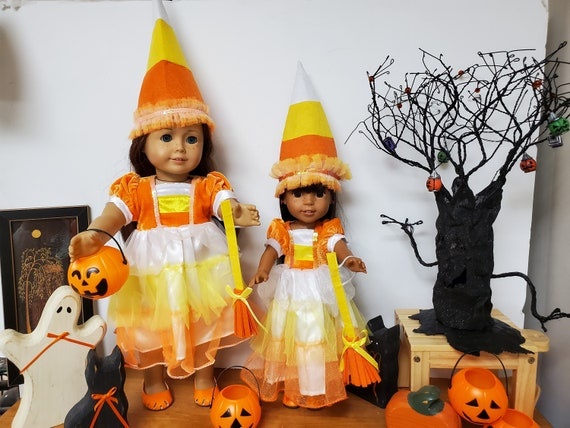 Matching Candy Corn Outfit for the American Girl & Wellie Wisher Dolls