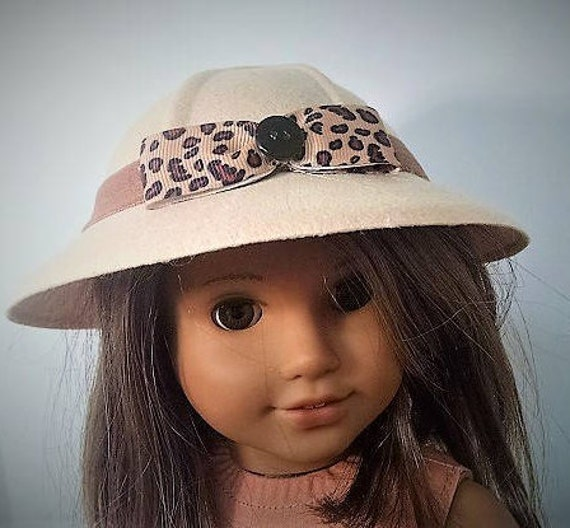 Felt Safari - Beige Dolly  Hats for the  American Girl Doll