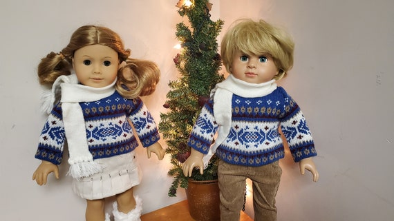 Matching American Girl & Boy Sweater winter 4 piece outfits