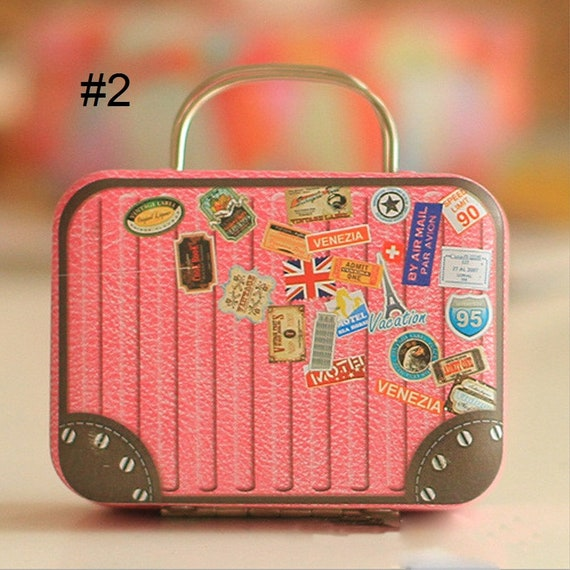 Mini Suitcases for dolls like the American Girl or Wellie Wisher. Vintage Suitcase Shape Candy Storage Box Wedding Favor Tin Box