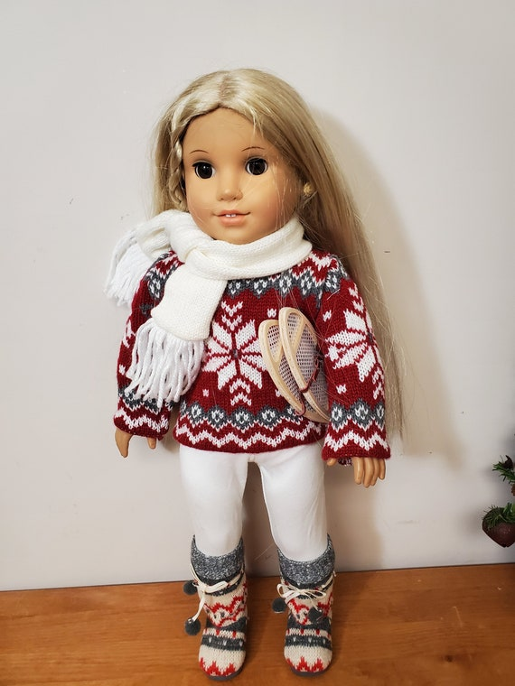 Winter Snow Shoe Sweater Outfit 5 piece set for the American Girl Doll