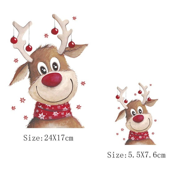 Christmas Reindeer Iron-On Transfers For Clothing  For T-Shirt DIY Washable Sticker Patch Heat Transfer Sticker