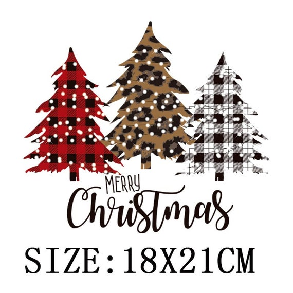 Christmas Trees Iron-On Transfers For Clothing  For T-Shirt DIY Washable Sticker Patch Heat Transfer Sticker