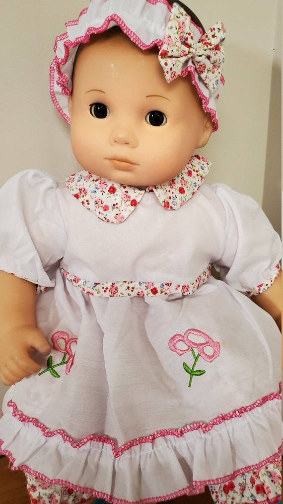 Bitty Baby Summer Outfit 4 pieces, Dress, bloomers, shoe, and hairband 3 different Styles