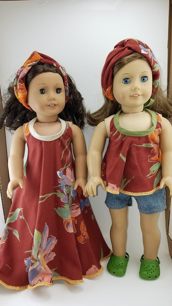 Maxi Boho Dress or short sets for  the 18 inch American Girl Doll