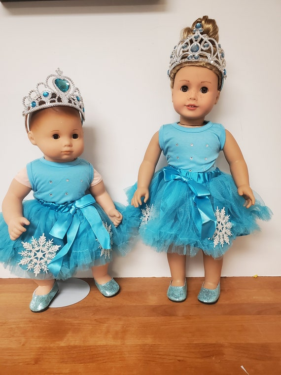 Blue Snowflake tutu for any 18inch doll, Like the American girl doll. also fits the Bitty Baby