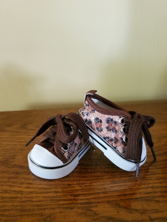 Leopard Sequin Tennis shoes for the American Girl Doll