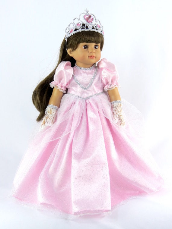 Pink Cinderella Gown with Gloves and Tiara