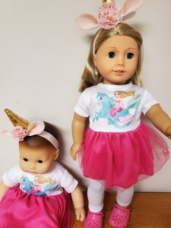 Bitty Baby or American Girl Matching Unicorn outfit