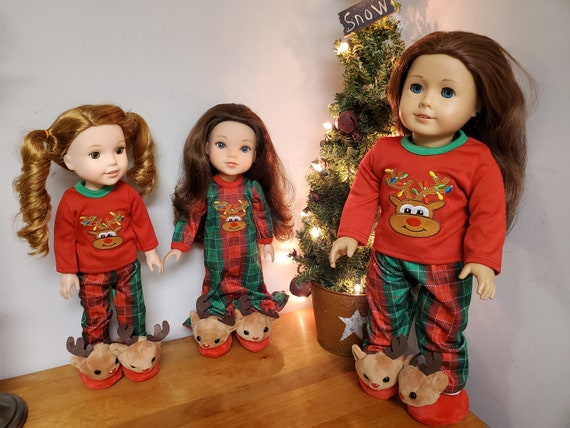 Christmas PJ's for the American Girl or Wellie Wisher Doll