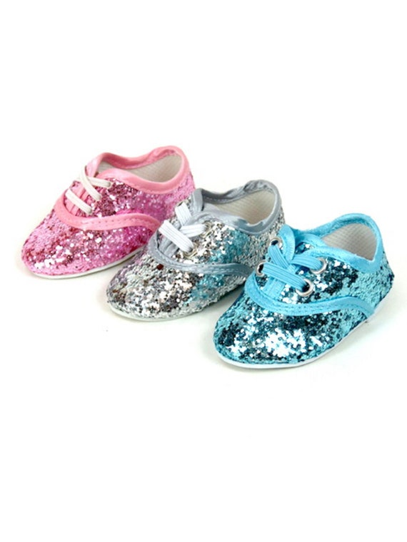 American Girl Do shoes. No Lace Glitter Sneakers for American Girl Doll and other 18 inch Dolls