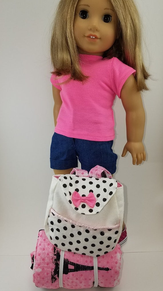Doll SLEEPOVER SET Handcrafted for 18 Inch dolls such as American Girl® Backpack, bedroll blanket, pillow, and a cute tooth brush and cup
