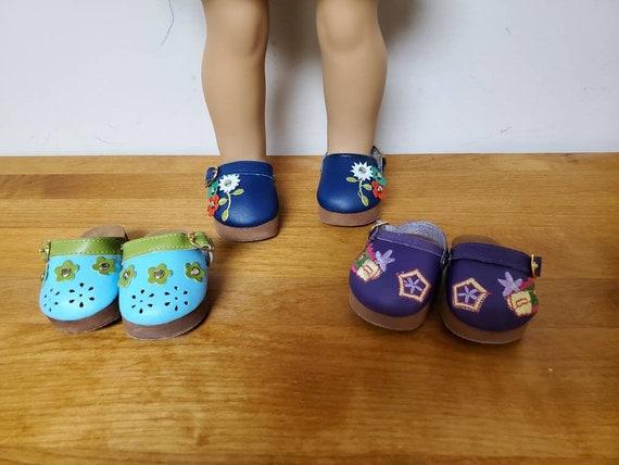 American Doll Flower Petal Clogs Girl Doll Clogs Shoes. European clogs Platform Clogs. 3 colors