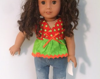 Two Piece outfit with shoes that fits the American Girl Doll. Jeans and top