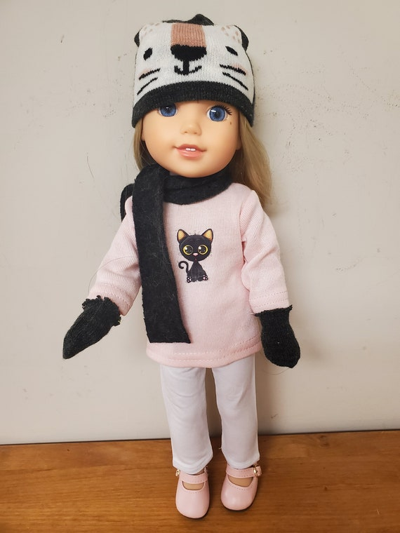 Kitty Cat 6 piece outfit that will fit a 14.5 size doll like the Wellie Wisher