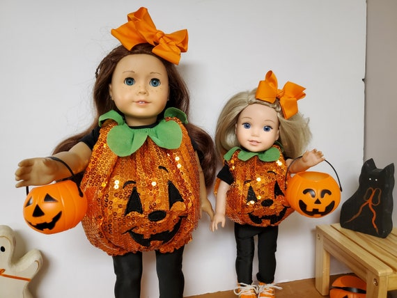 Sequin Pumpkin Costume for American Girl Dolls, or Wellie Wisher doll. Our Generation Dolls- 18 Inch Doll Clothes Halloween Costumes
