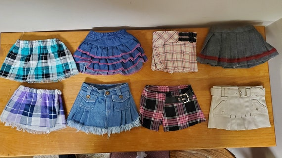 18 inch doll skirts. 8 different styles Jean, Plaid, Kayak, all for the American Girl doll.