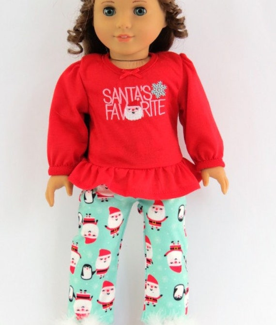 "Christmas Santa PJ's and slippers for a 18"" doll or the American Girl doll"