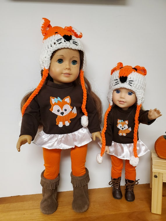 Matching 4 piece Fox Outfit for the American Girl & Wellie Wisher Dolls