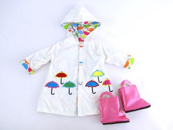 Rain Coat fully line with boots and umbrella for the American Girl Doll