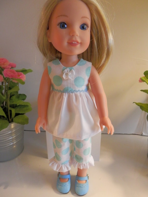 2 Piece Polka Dot outfit that will fit the Wellie Wisher Doll