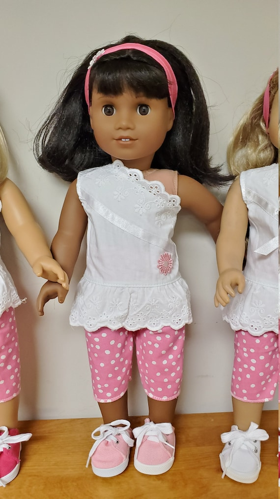 American Girl 4 Piece Summer Outfit. Top, Pants, Shoes and Headband