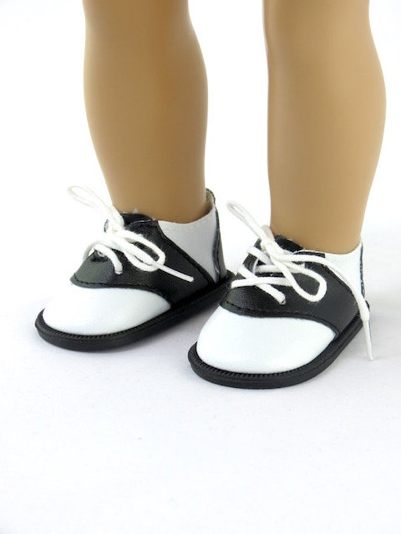 American Girl Do shoes. Black and White Saddle Oxford Shoes – 50's Style