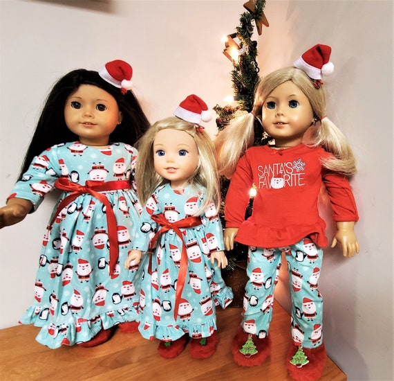 """Christmas PJ's and slippers for a 18"""" doll or the American Girl doll Plus Toothbrush Set"""