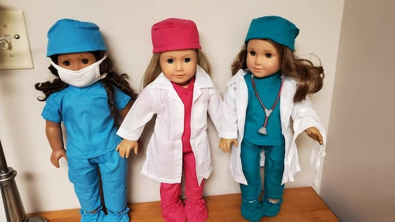 Doctors White Coat & Scrubs that will fit any 18 inch doll like the American girl doll 6 pieces Plus a Medical Stethoscope