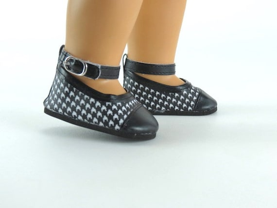 American Girl doll dress shoes  Black and White Checked Dress shoes that fits 18 inch dolls