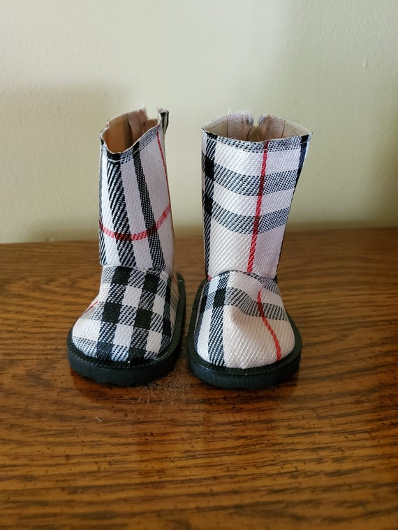 Tan Plaid Boots for the American Girl Doll