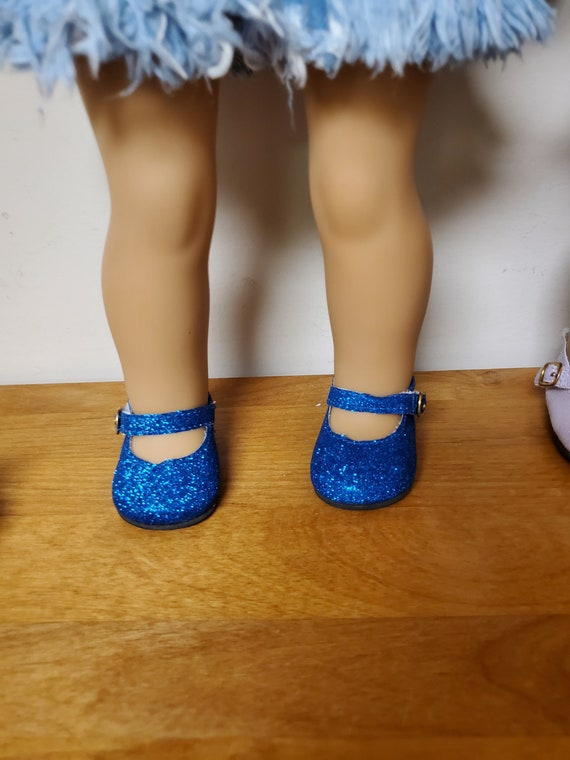 American Girl Size Glitter Mary Jane shoes. Fits 18 inch dolls. Six Colors