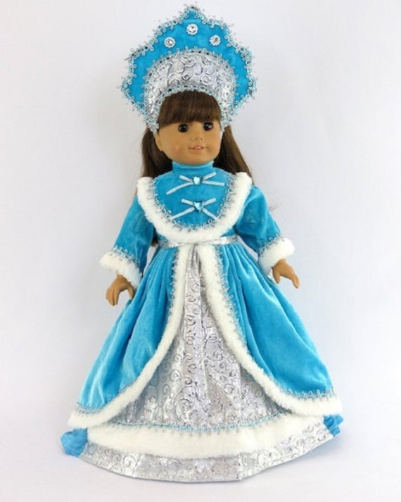 "Blue Russian Traditional Gown that fits the American Girl Doll or any 18"" doll"