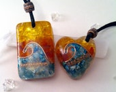 Matching Orgone Wave Pedants, Orgone Ocean Necklace, Reiki Energy, Gift for Couples, Wave Pendant, Chakra Stones, Orgone Jewelry