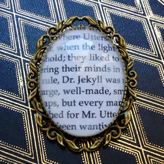 Jekyll And Mr Hyde book page brooch Customizable The Strange Case Of Dr