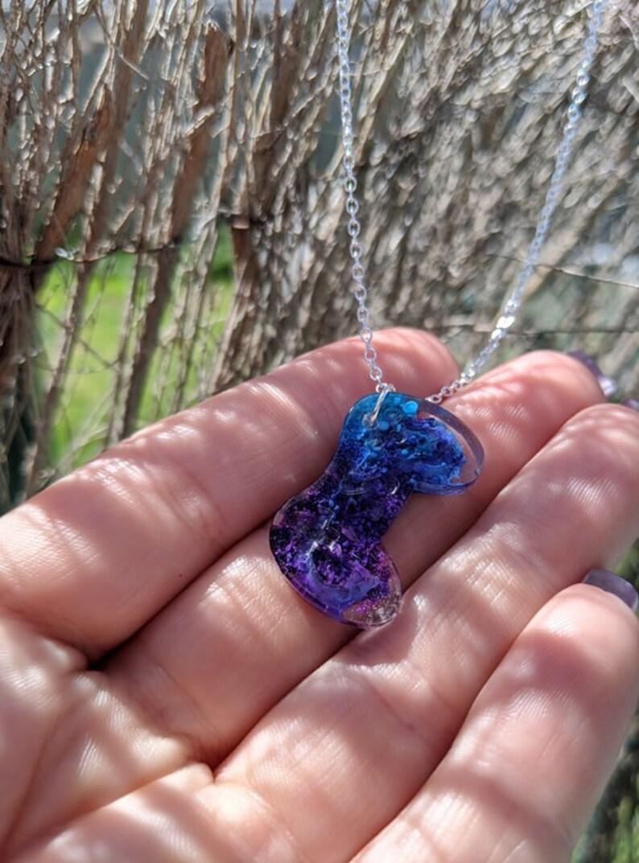 Purpleblue fluid ink PlayStation controller pendant