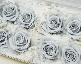 Silky gray, preserved roses, real roses, gray roses, preserved flowers, home decor, wedding decor, wedding roses, floral arrangements