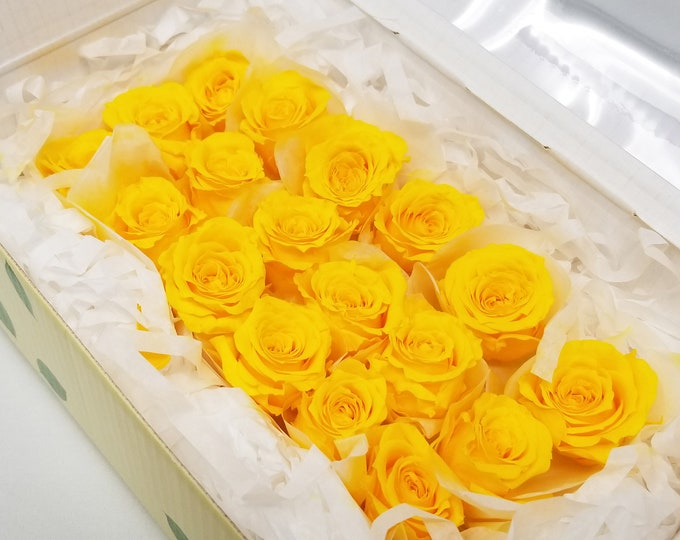 Yellow, preserved roses, preserved flowers, home decor, wedding decor flowers, rose heads, real roses, gift roses, floral arrangements