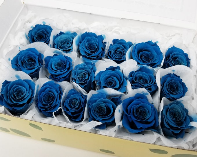 Blue, preserved roses, preserved flowers, blue roses, rose gifts, wedding flowers, wedding decor, home decor, floral arrangements, small