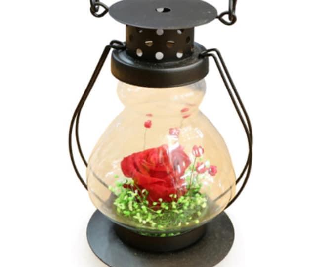 Preserved flower candle lamp, display case, preserved roses, flower lamp, wedding flowers, wedding decor, home decor, floral arrangements