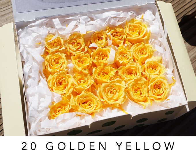 Golden yellow, preserved roses, yellow roses, real roses, preserved flowers, yellow flowers, home decor flowers, wedding decor, small rose