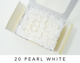 Pearl white, preserved roses, real roses, micro roses, preserved flowers, home decor, wedding decor, white roses, wedding roses, small roses
