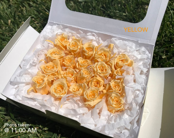 Yellow, preserved roses, floral arrangements, preserved flowers, yellow flowers, home decor flowers, wedding decor, small roses
