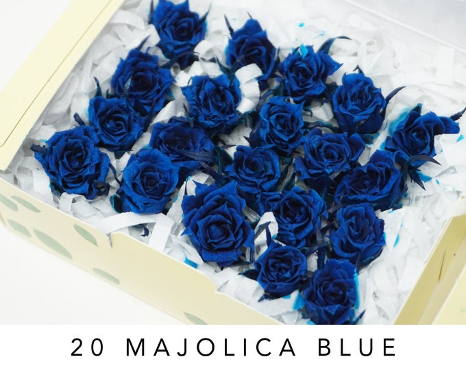 Majolica blue, preserved roses, micro size roses, real roses, home decor, wedding decor, preserved flowers, flower arrangements, blue roses