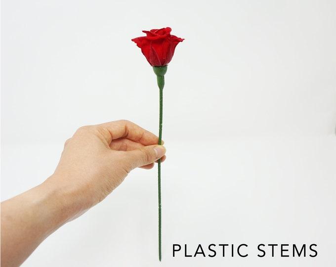 Plastic stem for preserved roses, rose stems, 12 stems, preserved flowers, rose gifts, wedding decor, home decor, everlasting roses