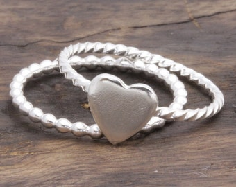 925 stering silver lovely heart band ring (R_00011)