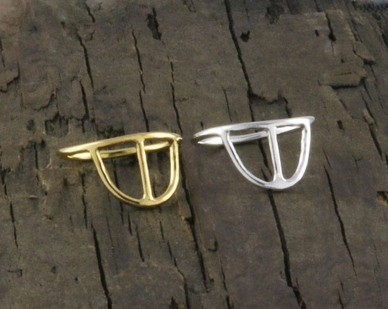 Arc Ring in Sterling Silver and Gold Filled \u2022 Gift for Her \u2022 Half Round Ring \u2022 Half Moon Ring