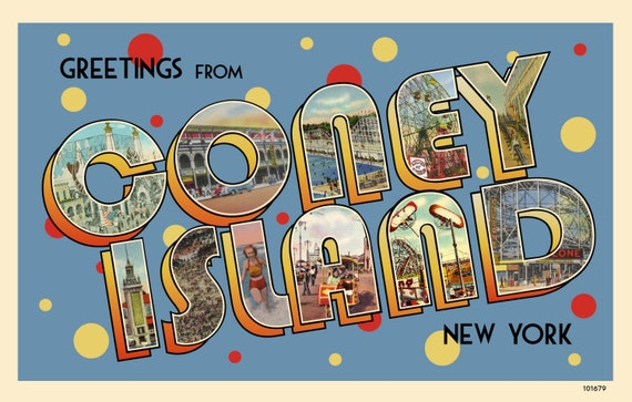 Greetings from coney island postcard vintage 1930s replica m4hsunfo