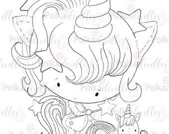 Unicorn - Digital Stamp (black/white) - Lil Miss Sugarpops craft digi download